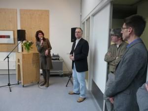 Annerieke Kooi (CBK), John Smits (Open Coffee Schiedam), Gerard Sparla (Wenneker Cinema) en Henk Kuipers (Wennekerpand)